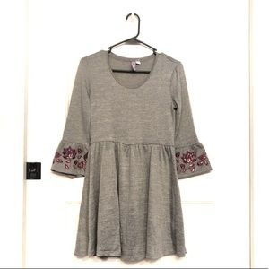 Gray Dress With Floral Embroidered Bell Sleeves